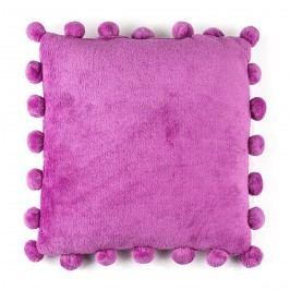 Pompon párna, lila, 45 x 45 cm