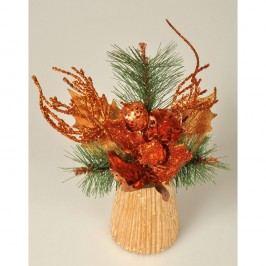 Magnólie karácsonyi dekoráció réz színű, 23 cm