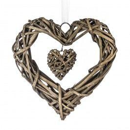 StarDeco Fonott szív lógó dísz barna, 25 cm