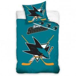 TipTrade NHL San Jose Sharks  pamut foszforeszkáló ágyneműh, 140 x 200 cm, 70 x 90 cm