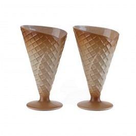 GELATO BISCOTTO tölcsér formájú bézs színű fagyis poharak 2 db