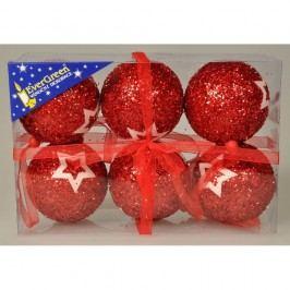 Stars Karácsonyi gömbök piros, 6 db