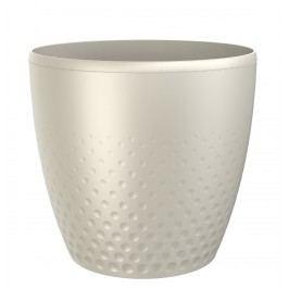 Perla műanyag kaspó, 25 cm, gyöngyház, 25 cm átmérőjű