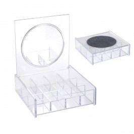 Kozmetikai szervező, tükörrel, 14 x 14 cm
