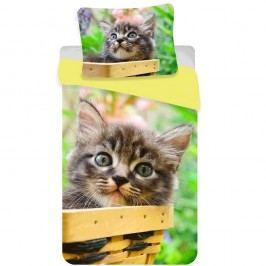 Jerry Fabrics  Cirmos macska pamut ágyneműhuzat, 140 x 200 cm, 70 x 90 cm