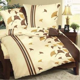 Bellatex Legyezők pamut ágyneműhuzat barna, 140 x 200 cm, 70 x 90 cm