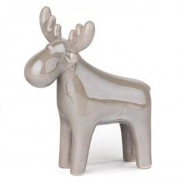 Rénszarvas gyöngy dekoráció ezüst, 19 cm