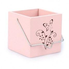 Felakasztható fa gyertyatartó Pillangó rózsaszín, ZS0506