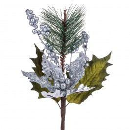 Poinsettie műanyag csokor bogyókkal, ezüst