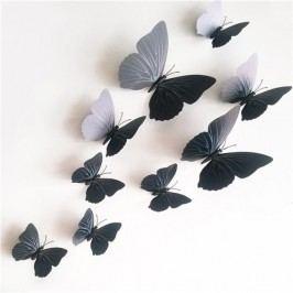 Öntapadós falmatrica 3D-s pillangókkal, mágneses, fekete, 12 db