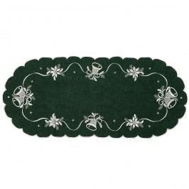 Csengettyűk karácsonyi abrosz zöld, 40 x 90 cm