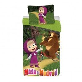Gyerek pamut ágyneműhuzat Mása és a medve kerékpáron, 140 x 200 cm, 70 x 90 cm