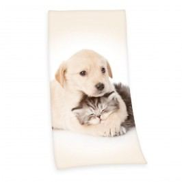 Kutyus és cica törölköző, 75 x 150 cm