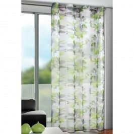 Sam virágos függöny karikákkal, zöld, 135 x 245 cm