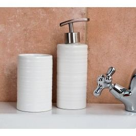 Folyékony szappan adagoló + fogkefetartó szett( fehér, kerek )