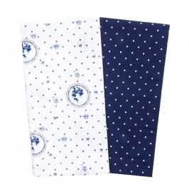 Country konyhai törlőkendő kék pöttyös, 50 x 70 cm, 2 db-os szett