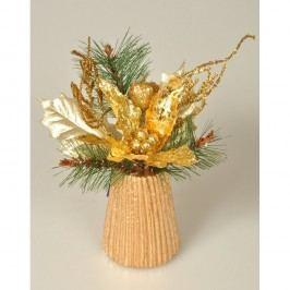 Poinsettie karácsonyi dekoráció arany, 23 cm