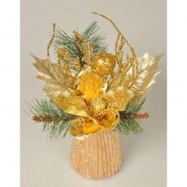 Magnólie karácsonyi dekoráció arany, 23 cm
