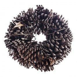 Koszorú tobozokkal és nyírfából készült csillagokk, natúr, átmérője 25 cm