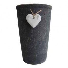 StarDeco szívecskés virágtartó fekete, 18 cm