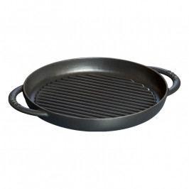 Staub Öntöttvas grillserpenyő, kerek, fekete, Ø 22 cm