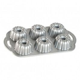 NordicWare Anniversary Bundlette Bundt® mini kuglóf sütőforma, 6 adagos, ezüst, Nordic Ware