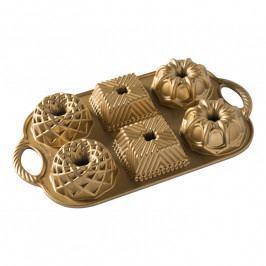 NordicWare Geo Bundlette Bundt® mini kuglóf sütőforma, 6 adagos, arany, Nordic Ware