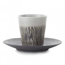 REVOL Arborescence kávéspohár kistányérral, feketebors színű, 18 cl