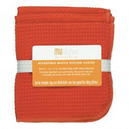 MÜkitchen MÜmicro® törlőkendő, 3 db, kockaszövésű, korallpiros