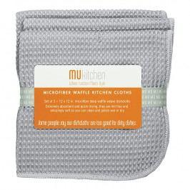 MÜkitchen MÜmicro® törlőkendő, 3 db, kockaszövésű, világosszürke