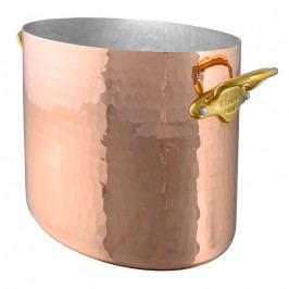 MAUVIEL Kovácsolt réz pezsgőhűtő, bronz fülekkel, ovális, Ø 26 cm