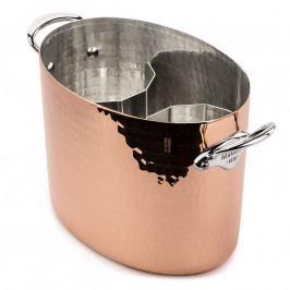 MAUVIEL Kovácsolt réz pezsgőhűtő, rozsdamentes acél fülekkel, ovális, Ø 26 cm