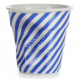 REVOL Froissés cappucino pohár, 18 cl, kék berlingot-csíkokkal