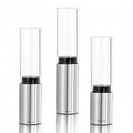 Blomus FARO gyertyatartó, 3 részes szett, fényes rozsdamentes acél és átlátszó üveg