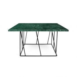 Helix zöld márvány dohányzóasztal fekete lábakkal, 75 cm - TemaHome