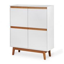 Ontur 42 fehér szekrény lábakkal és fa részletekkel - Dřevotvar