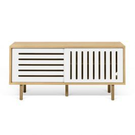 Dann Stripes tölgyfamintás TV komód fehér elemekkel, hossza 135 cm - TemaHome