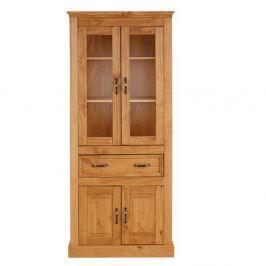 Suzie barna, tömör fenyőfa négyajtós üvegajtós szekrény - Støraa