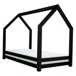 Funny fekete egyszemélyes ágy, borovi fenyőből, 80 x 160 cm - Benlemi
