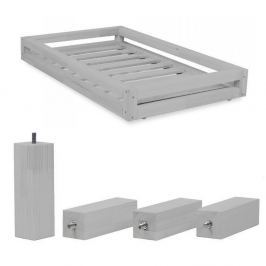 Funny Set, világosszürke kihúzható tároló és 4 ágylábemelő, 120 x 200 cm - Benlemi