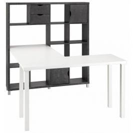 Kiera fehér íróasztal fekete könyvespolccal - Støraa