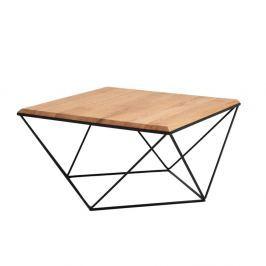 Daryl dohányzóasztal tölgyfa asztallappal, fekete lábakon, 80 cm széles - Custom Form