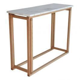 Accent fehér márvány kávézó asztal tölgyfa vázzal, 100 cm széles - RGE