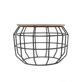 Pixel fekete kisasztal mangófa asztallappal, Ø 56 cm - LABEL51