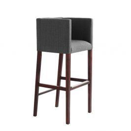 Wilton szürke színű bárszék, kartámasszal és sötétbarna lábakkal - Custom Form