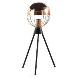 Accent fekete asztali lámpa rézszínű elemekkel - Geese