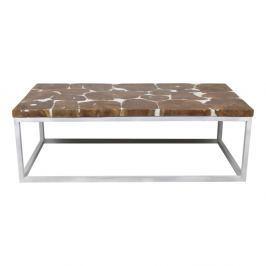 Resin dohányzóasztal teakfa asztallappal és fehér lábakkal, hosszúsága 120 cm - HSM collection