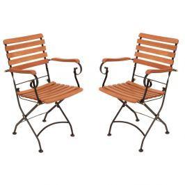 Vienna összecsukható kerti szék kartámasszal, eukaliptuszból, 2 darab - ADDU