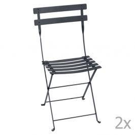 Bistro antracitszürke összecsukható kerti szék szett, 2 db-os - Fermob
