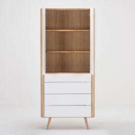 Ena tömör tölgyfa szerkezetű üvegajtós szekrény 4 fiókkal, szélessége 90 cm - Gazzda
